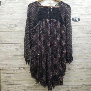 Free People Sheer Floral Long Sleeve Dress